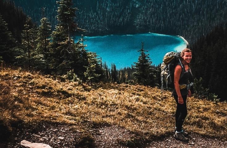 women backpacking